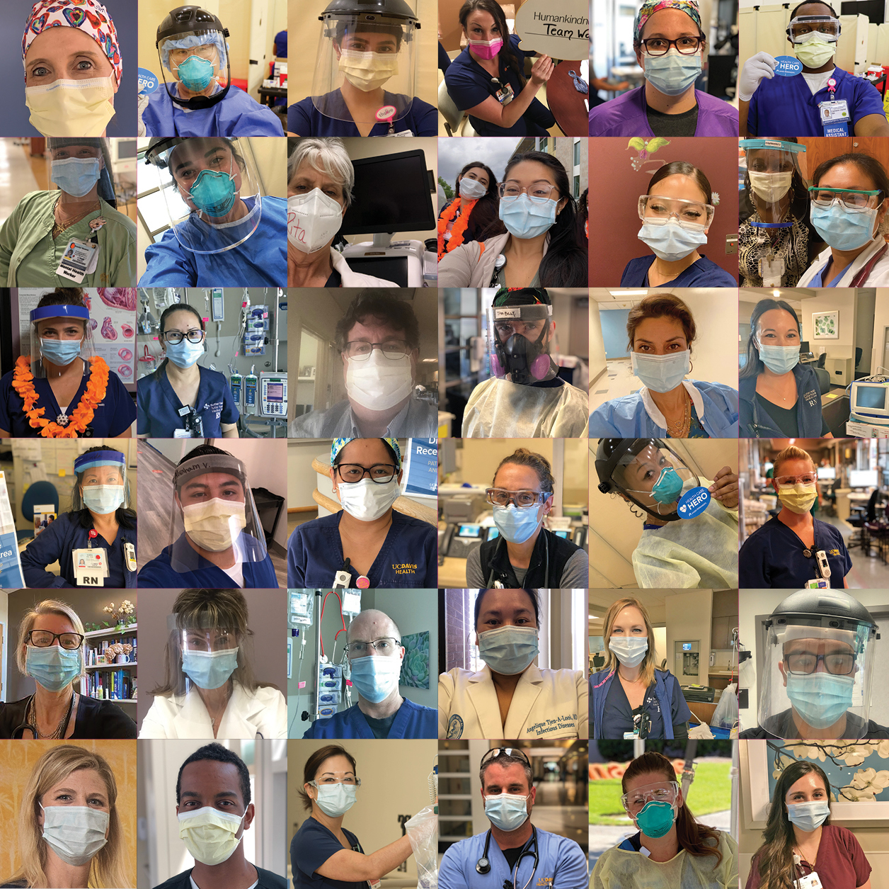 Collage of dozens of health care workers in masks