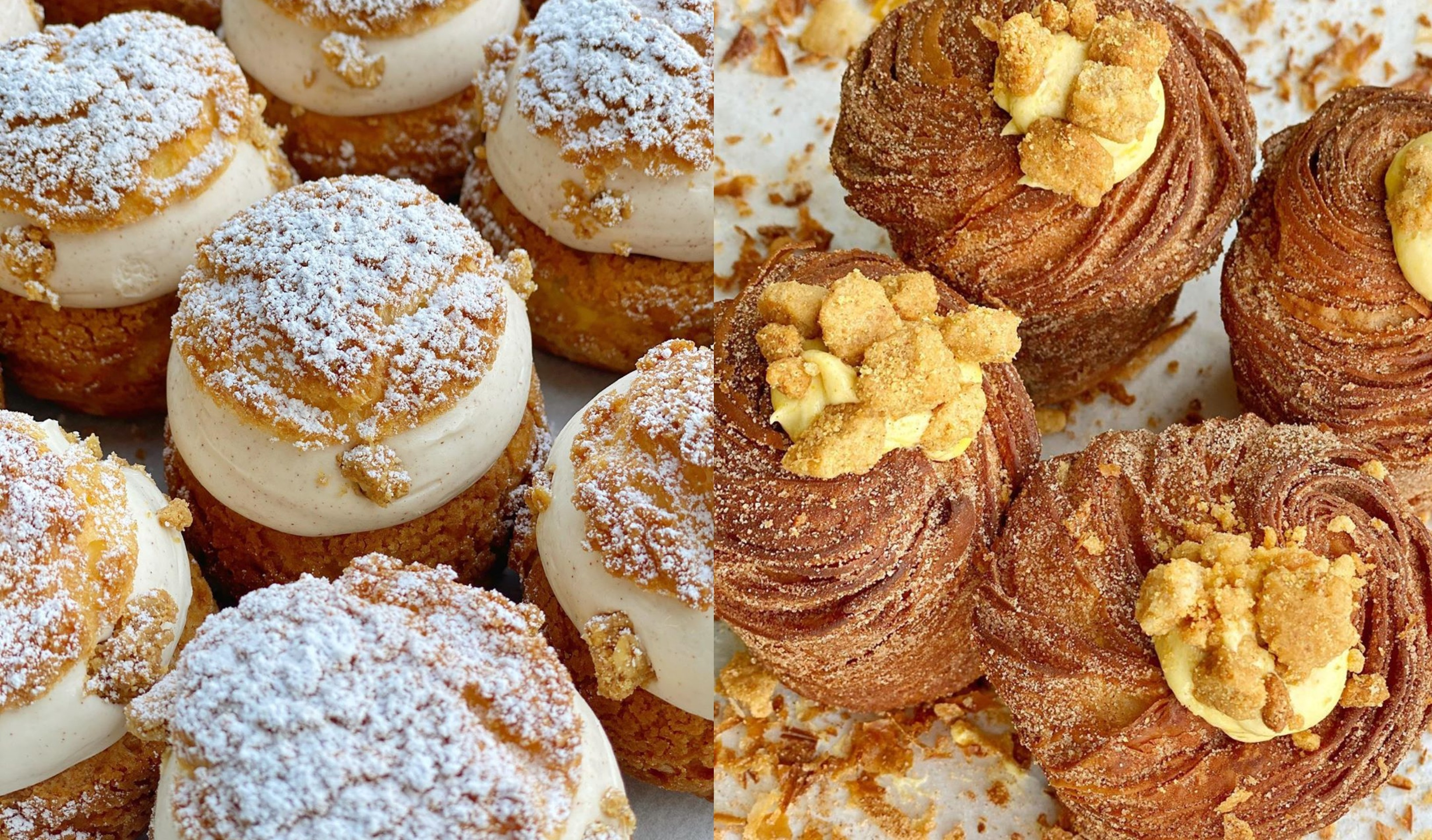 Decadent apple crisp cream puffs and pumpkin cheesecake cruffins crowned with house-made graham cracker streusel