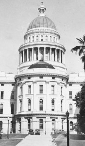 The east side of the Capitol (pictured here, circa 1940) once featured a semicircular apse, an architectural element that was destroyed to build the current annex.