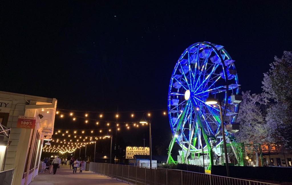 Picture shows waterfront wheel from a distance at night