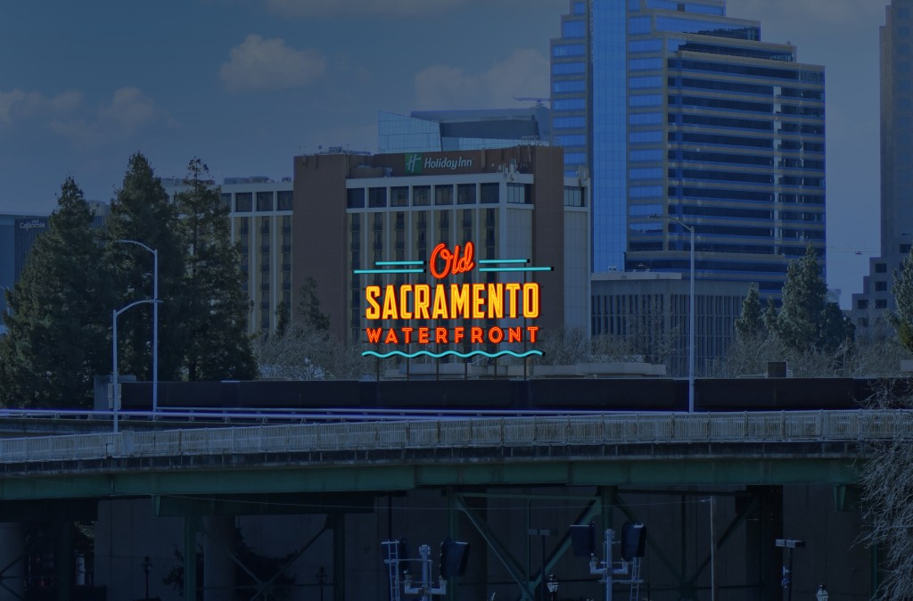 The Old Sac Waterfront sign will be visible from 1-5. Rendering courtesy of Pacific Neon.