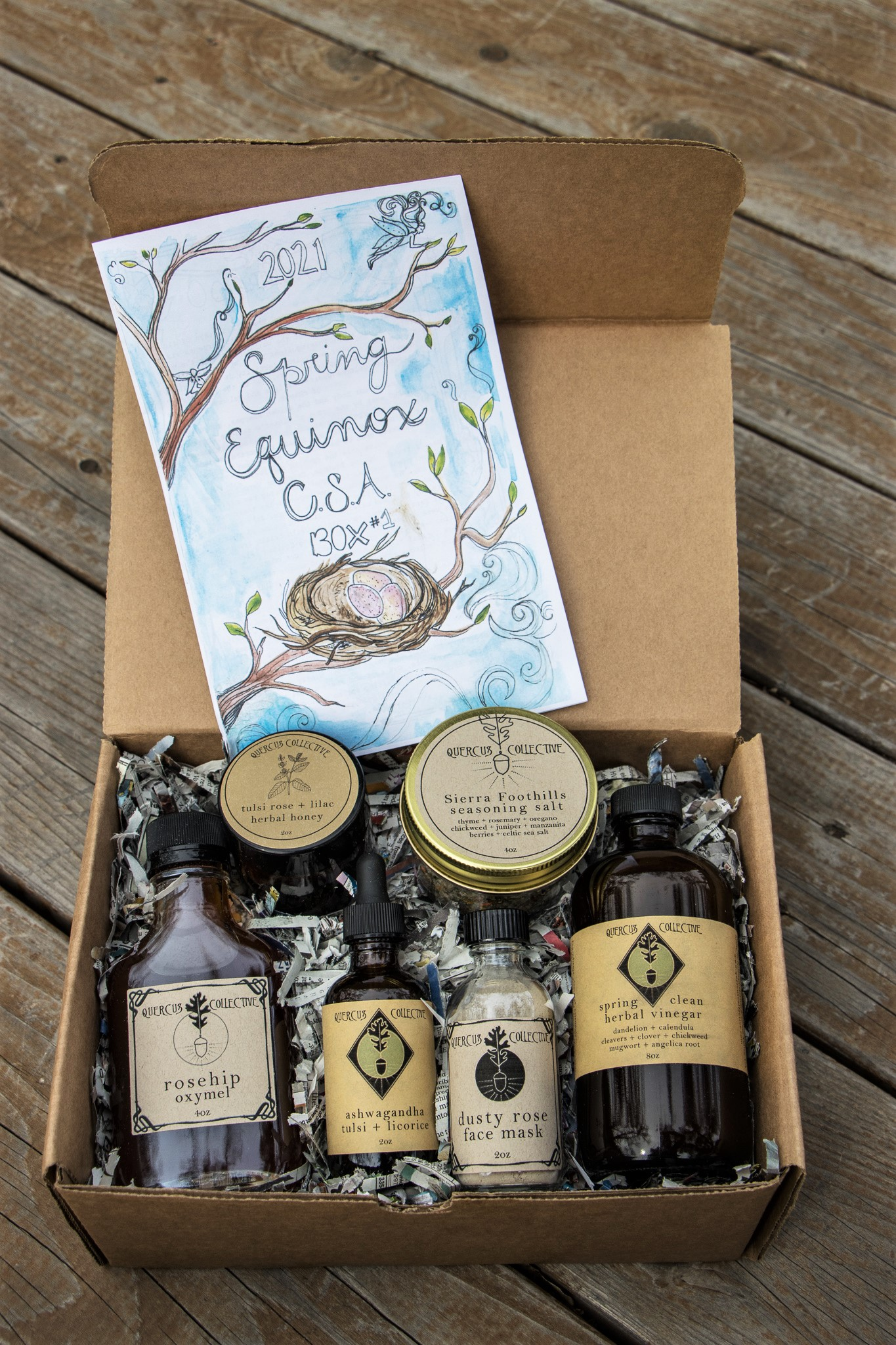 Quercus Collective's spring equinox box with oils, creams and a hand-drawn info book.
