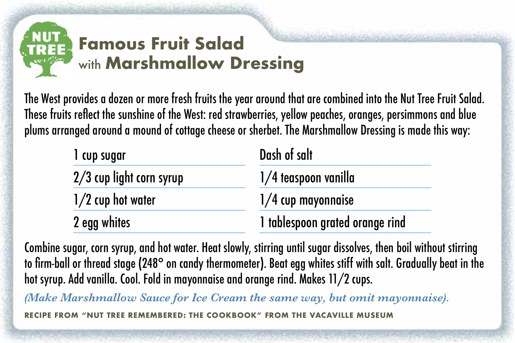 Nut Tree Marshamllow Recipe