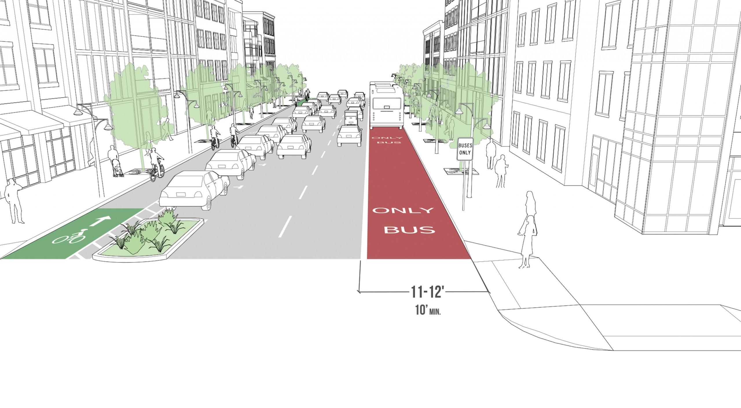 A rendering of a bus rapid transit lane