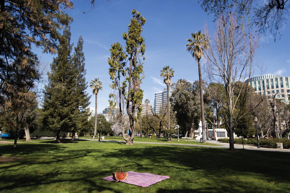 A picnic spot in Capitol Park in Sacramento, California, March 24, 2021.