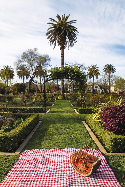 A picnic spot in the McKinley Park Rose Garden in Sacramento, California, March 24, 2021.