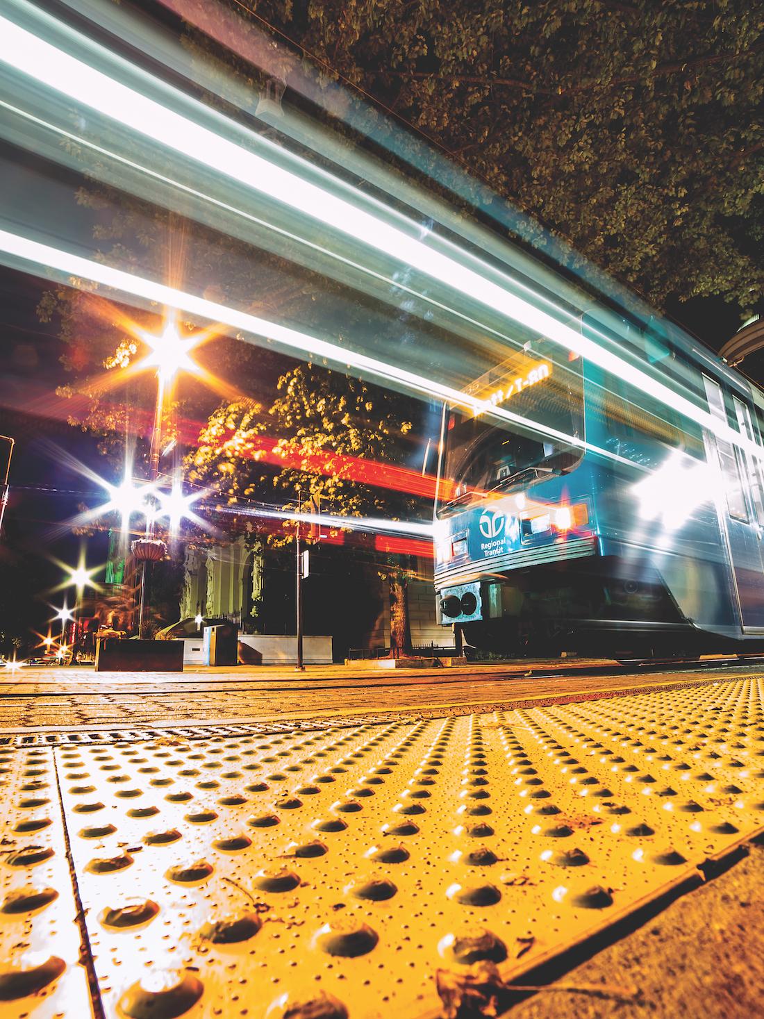 night time photo of k street light rail