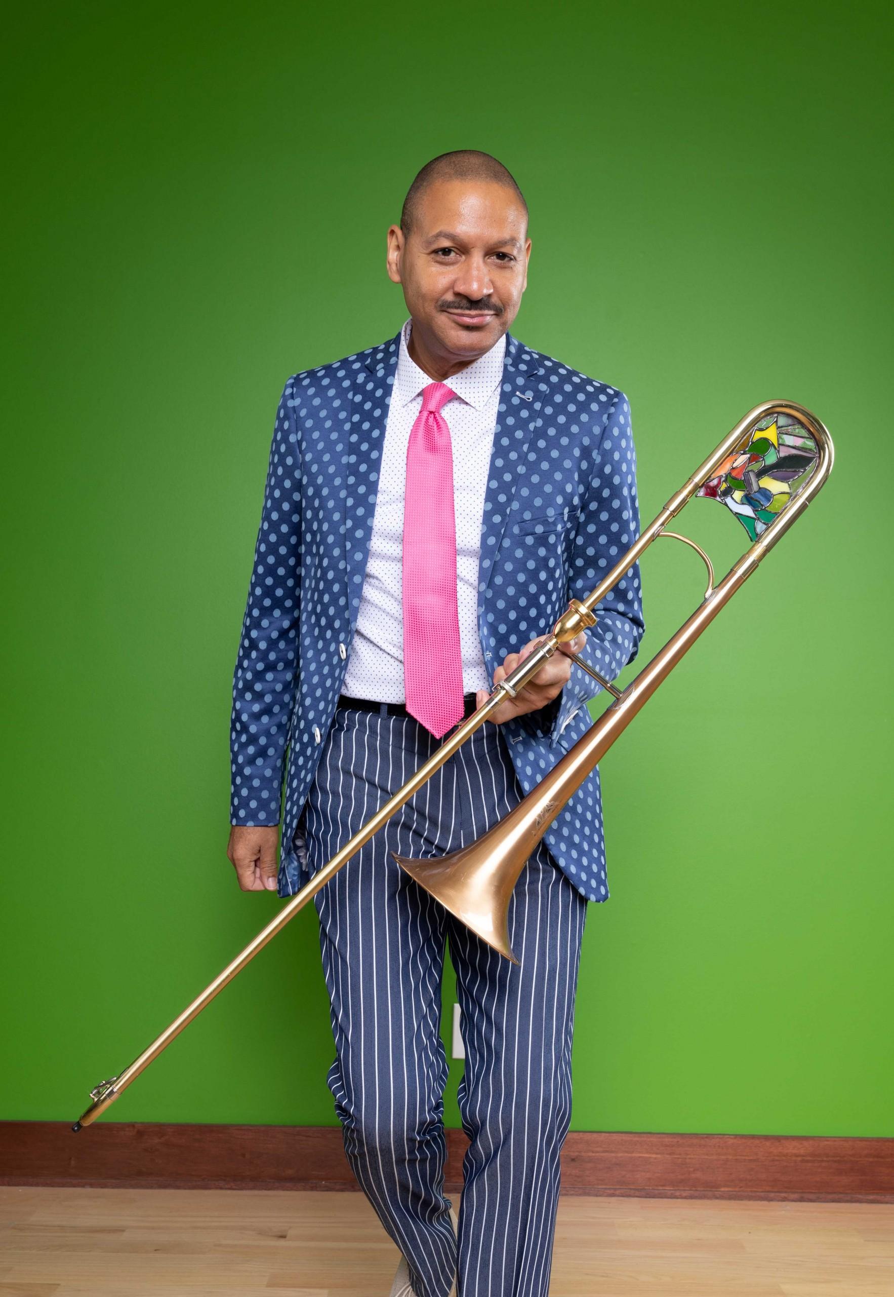 Photo of Delfeayo Marsalis holding a trombone