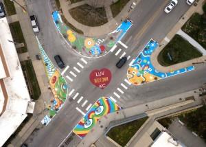 Street mural in Kansas City by Tehya Riley Parker Story Alex Eickhoff Stephanie Bloss Foley