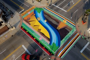 Street mural in Saginaw by Nyesha Clark Young, Assistant Jesse Schmitt