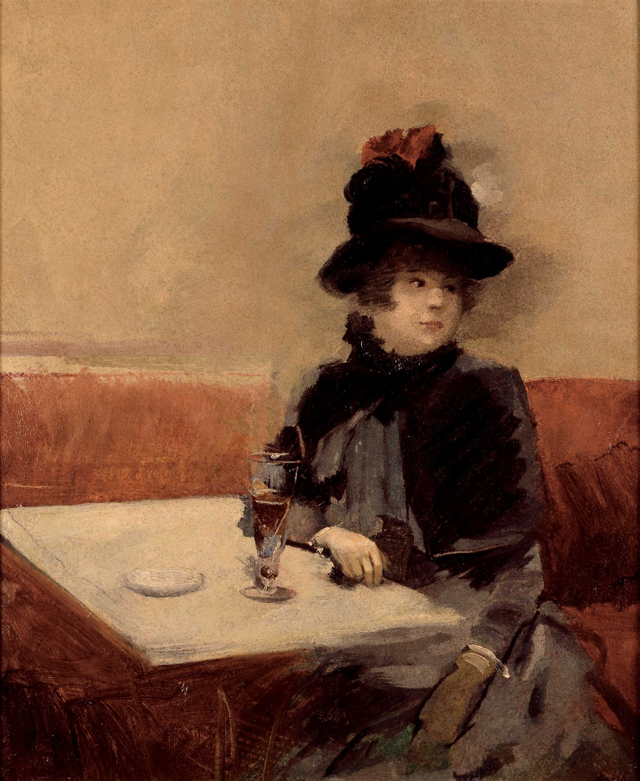 Impressionist painting of a woman in a café